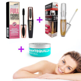 MANTEQUILLA CORPORAL + PESTAÑINA HEAVY FULL + LABIAL 3D